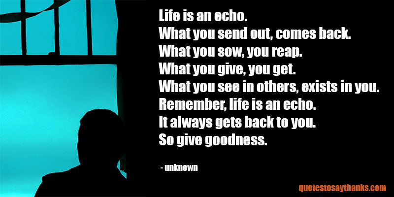 Life Is An Echo Quote Endearing Giving Thanks Quote  Life Is An Echo  Thank You Quotes